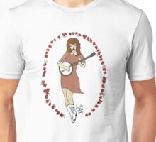 """""""Bluegrass Gal"""" Banjo Pinup Girl Unisex T-Shirt"""