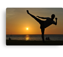 Roundhouse Kick Infront of A Sunset-Darwin Canvas Print