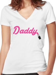 Daddy Lipstick  Women's Fitted V-Neck T-Shirt
