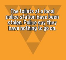 The toilets at a local police station have been stolen. Police say they have nothing to go on.   by margdbrown