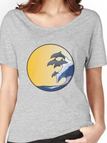The Wave and Dolphins Women's Relaxed Fit T-Shirt