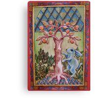 Blue Rabbit & Orange Tree Canvas Print