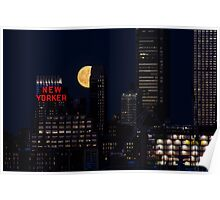 Blue Moon over The Apple Poster