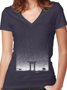 Japan Night at Torii Gate Women's Fitted V-Neck T-Shirt