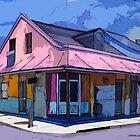 French Quarter House in Pink and Blue by chili20325