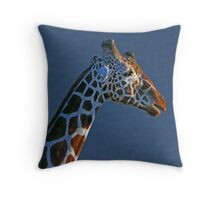 Giraffe in Blue Throw Pillow