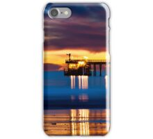 Venoco Ellwood Pier,  Bacara (haskell's) beach Goleta  at sunset iPhone Case/Skin
