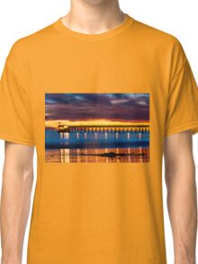 Venoco Ellwood Pier,  Bacara (haskell's) beach Goleta  at sunset Classic T-Shirt