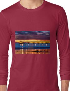 Venoco Ellwood Pier,  Bacara (haskell's) beach Goleta  at sunset Long Sleeve T-Shirt