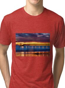Venoco Ellwood Pier,  Bacara (haskell's) beach Goleta  at sunset Tri-blend T-Shirt