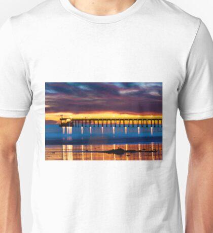 Venoco Ellwood Pier,  Bacara (haskell's) beach Goleta  at sunset Unisex T-Shirt