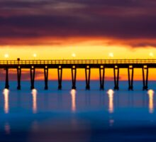 Venoco Ellwood Pier,  Bacara (haskell's) beach Goleta  at sunset Sticker