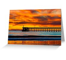 Venoco Ellwood Pier, in Bacara beach CA during sunset Greeting Card