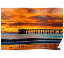 Venoco Ellwood Pier, in Bacara beach CA during sunset Poster