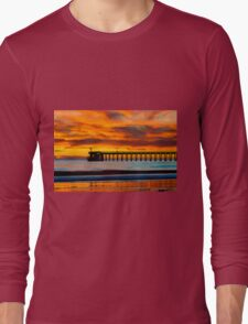Venoco Ellwood Pier, in Bacara beach CA during sunset Long Sleeve T-Shirt