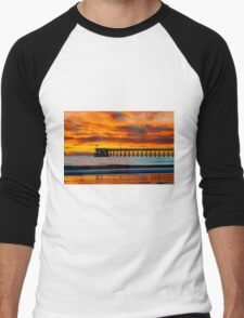 Venoco Ellwood Pier, in Bacara beach CA during sunset Men's Baseball ¾ T-Shirt