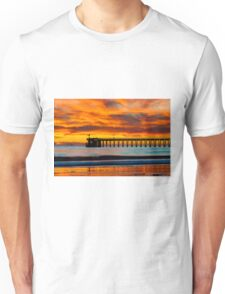 Venoco Ellwood Pier, in Bacara beach CA during sunset Unisex T-Shirt