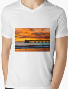 Venoco Ellwood Pier, in Bacara beach CA during sunset Mens V-Neck T-Shirt