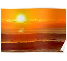 Surfer Sunset Poster