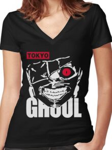 Tokyo Ghoul Kaneki Ghoul Anime Cosplay T Shirt Women's Fitted V-Neck T-Shirt
