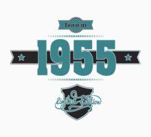 Born in 1955 (Blue&Darkgrey) Baby Tee
