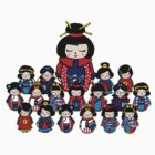 Nursery Kokeshi Dolls Tee by Mariska