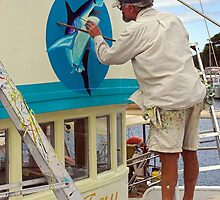 Repainting Dee Jay at Bermagui Harbour by Darren Stones