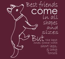 BEST FRIENDS COME IN ALL SHAPES AND SIZES BUT THE BEST ONES COME WITH SHORT LEGS AND LONG TORSOS by imsrnvs