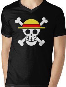 One Piece Monkey D. Luffy Mugiwara Strawhats Pirates Anime Cosplay T Shirt Mens V-Neck T-Shirt