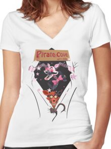We Love Foxy and Mangle Women's Fitted V-Neck T-Shirt