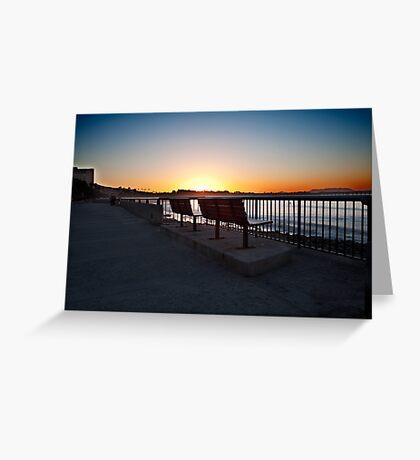 Ventura Beach boardwalk, morning Greeting Card