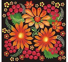 Flowers drawn in Ukrainian style Photographic Print