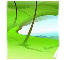 A pond in the midst of green atmosphere Poster