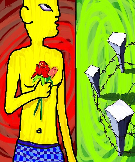 Digital painting of man hands of flower by tillydesign