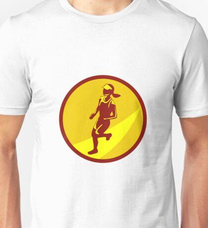 Female Marathon Runner Circle Retro Unisex T-Shirt