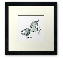 Unicorn Horse Prancing Side Etching Framed Print
