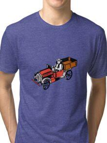 Vintage Pick Up Truck Driver Woodcut Tri-blend T-Shirt