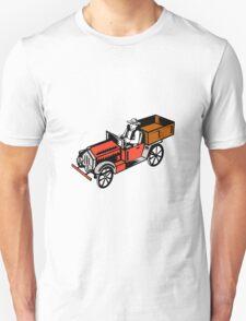 Vintage Pick Up Truck Driver Woodcut T-Shirt