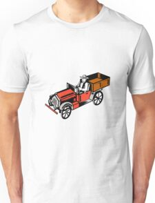 Vintage Pick Up Truck Driver Woodcut Unisex T-Shirt