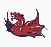 Chinese Red Dragon Angry Isolated Retro by patrimonio