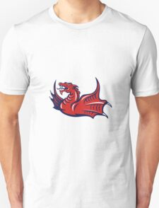 Chinese Red Dragon Angry Isolated Retro T-Shirt