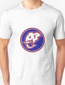 Elephant Head Tusk Side Circle Retro Unisex T-Shirt
