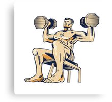 High Intensity Interval Training Dumbbell Etching Canvas Print