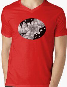 Midnight Ink Water Lily Mens V-Neck T-Shirt