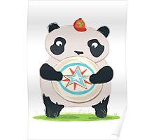 Panda playing Ultimate Frisbee Poster