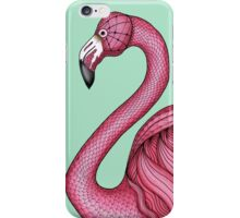 Pink Flamingo on Turquoise Background iPhone Case/Skin
