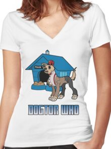 Dogtor Who 11 Women's Fitted V-Neck T-Shirt