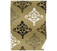 Cresta Damask Art I Black White Bronzes Gold Poster