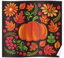 Pumpkin with flowers in Ukrainian style Poster