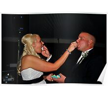 Bride and Groom Eating Cake Poster